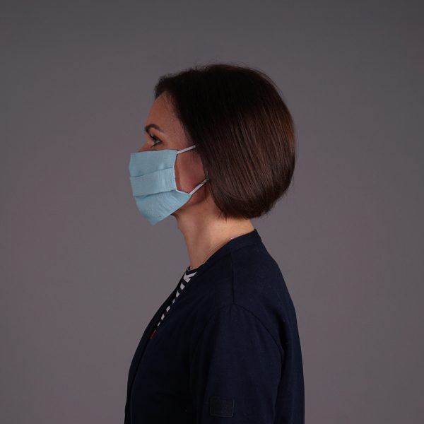 Pure linen face mask reusable Light Blue