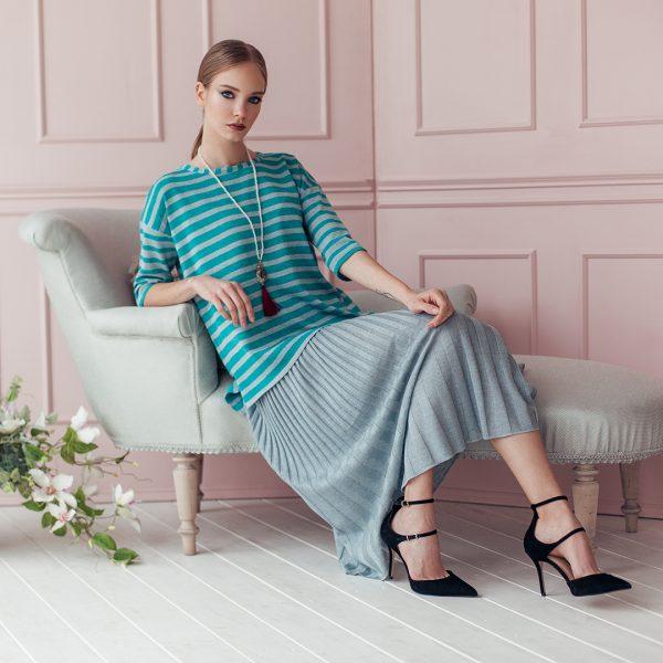 Meia textured knit skirt mint green