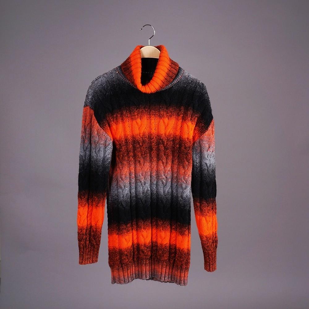 Bruce шерстяной джемпер с высоким горлом оранжевого цвета с черной полоской