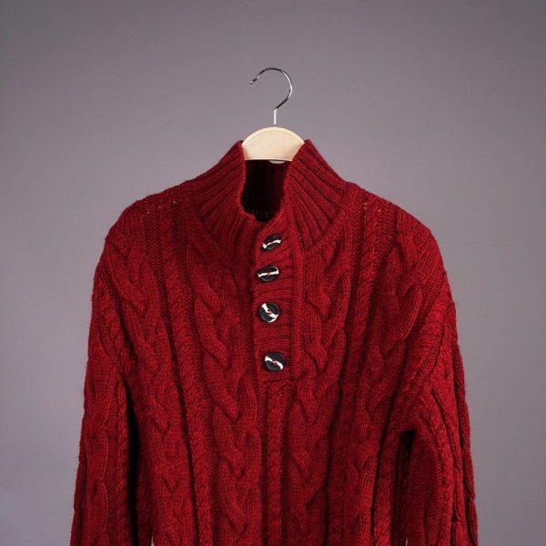 Brian шерстяной джемпер с высоким горлом на пуговицах бордового цвета