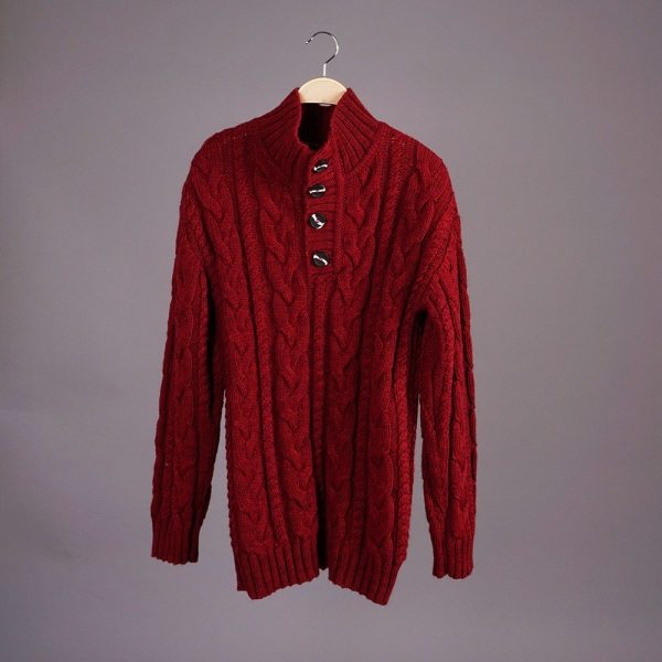 Brian wool blend cable button neck burgundy jumper