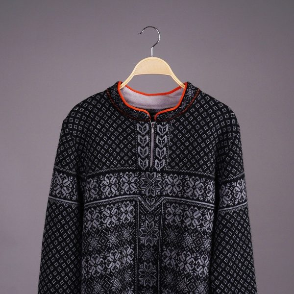 Berg zip-up high neck sweater with scandinavian jacquard knit black gray