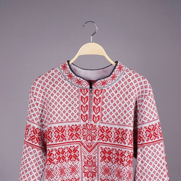 Berg skandinaavia žakaarmustriga villane sviiter hall-punane