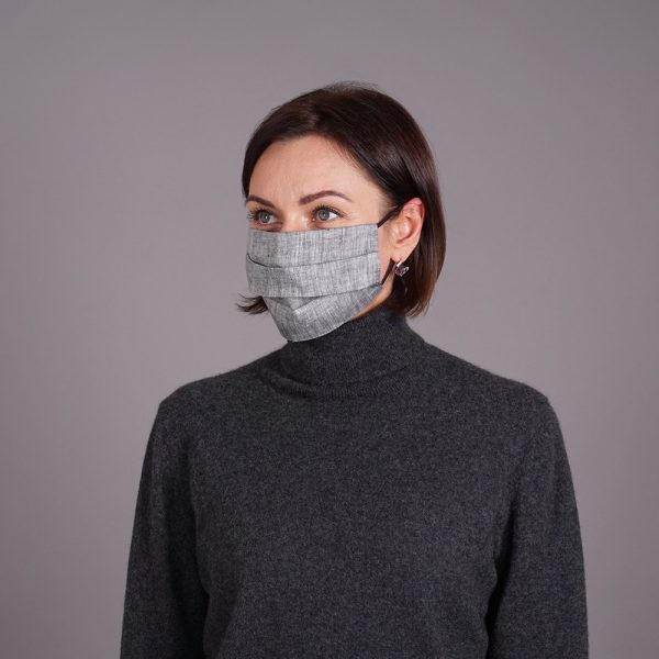 Pure linen face mask reusable jeans black