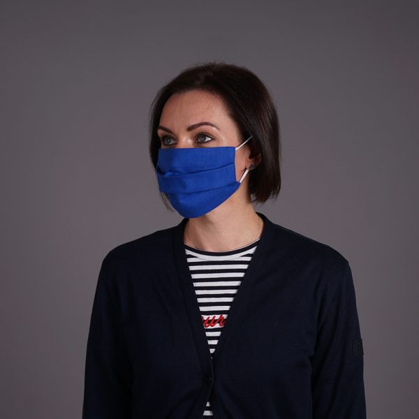 Pure linen face mask reusable Royal Blue