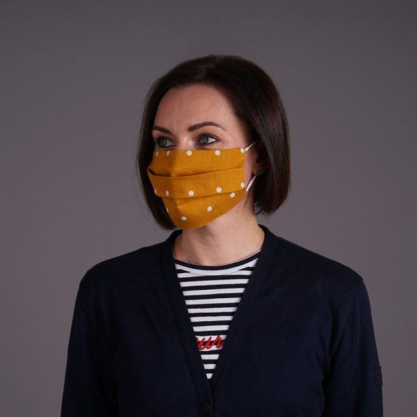 Pure linen reusable yellow mask dots print white