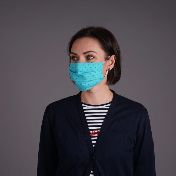 Turquoise linen reusable mask with olive dots