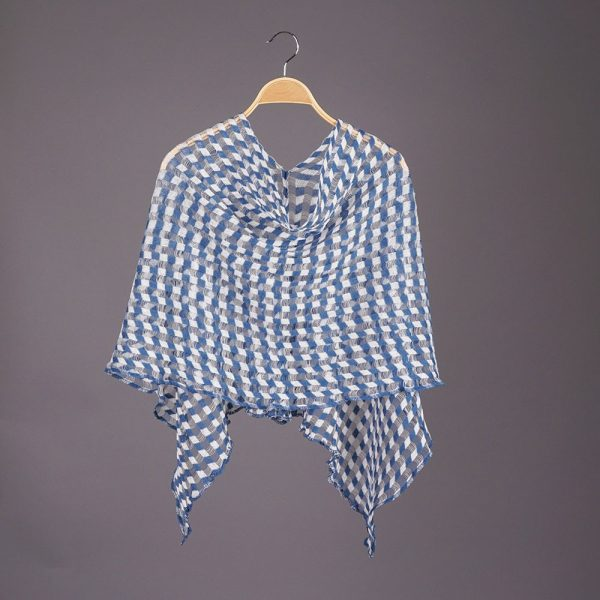 Nensi Square light Pure Linen Poncho blue-white