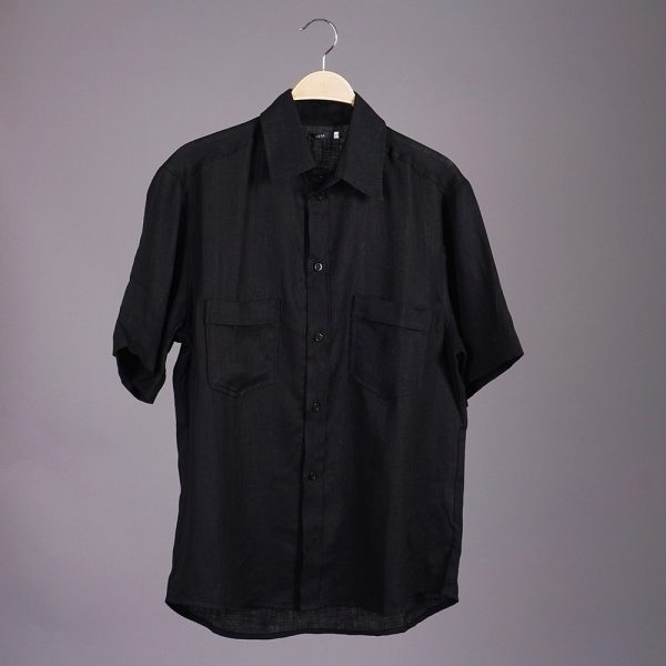Mario Linen Short Sleeve Relaxed Fit Casual Shirt black