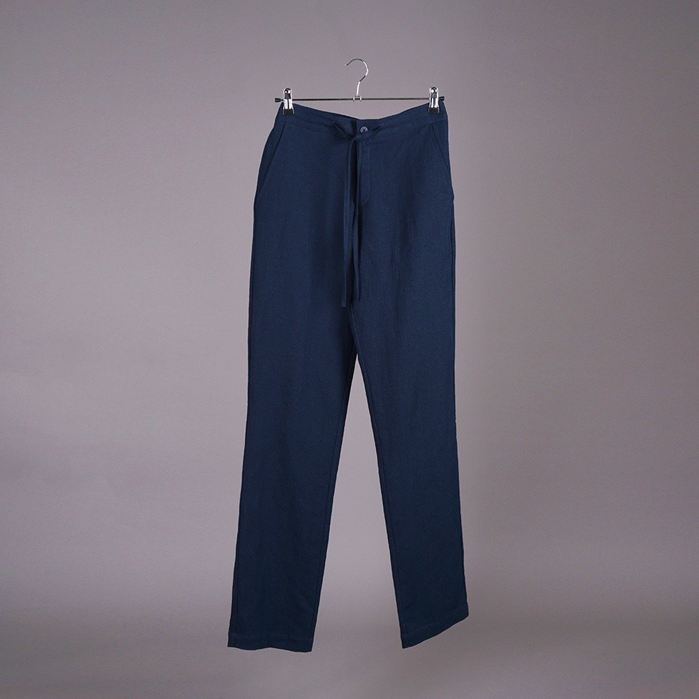Tomson Pure Linen Trousers dark blue