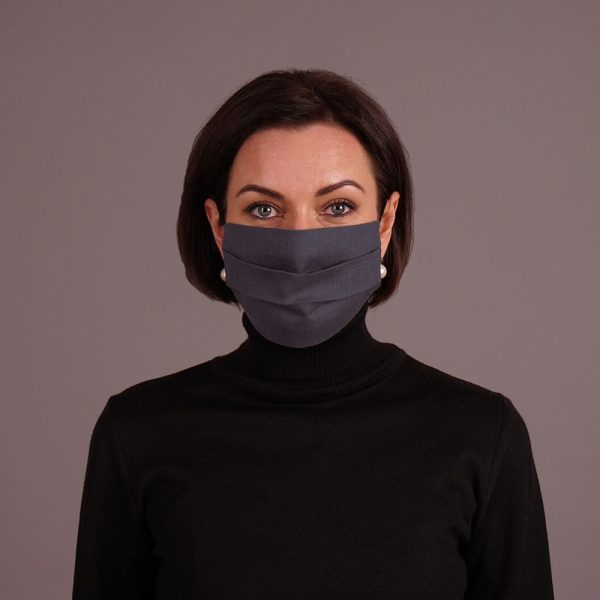 Pure linen face mask reusable dark gray