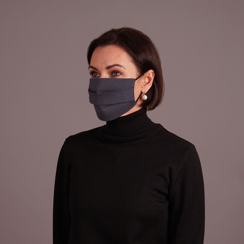 Dark gray pashmina shawl and mask set