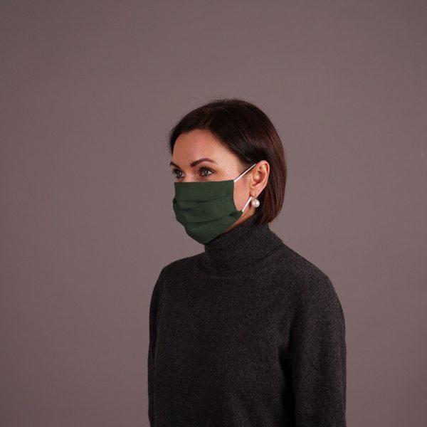 Olive pashmina shawl and mask set