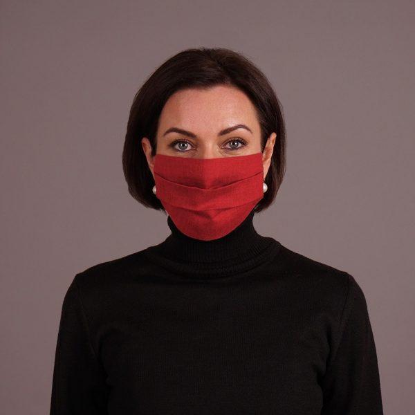 Pure linen face mask reusable burgundy