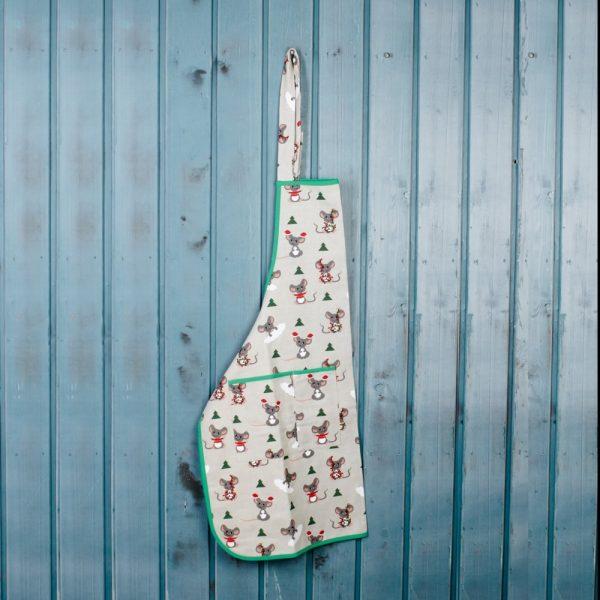 Christmas mouses print linen apron