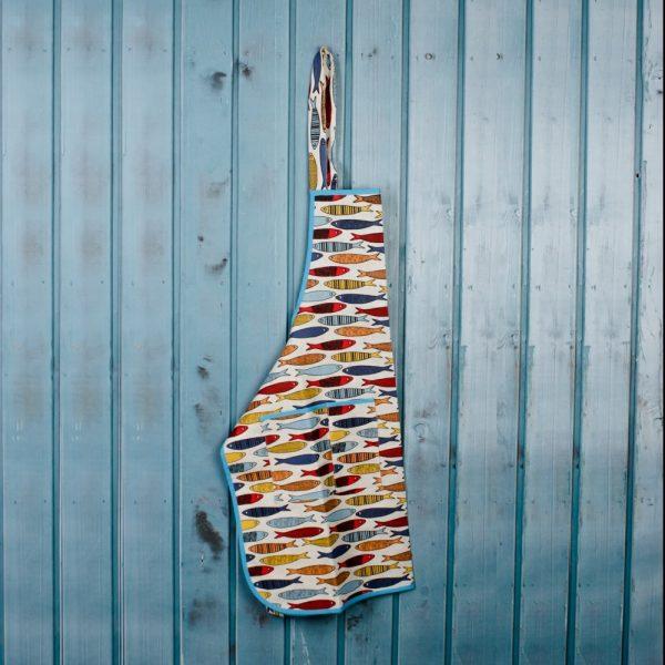 Fish print linen apron