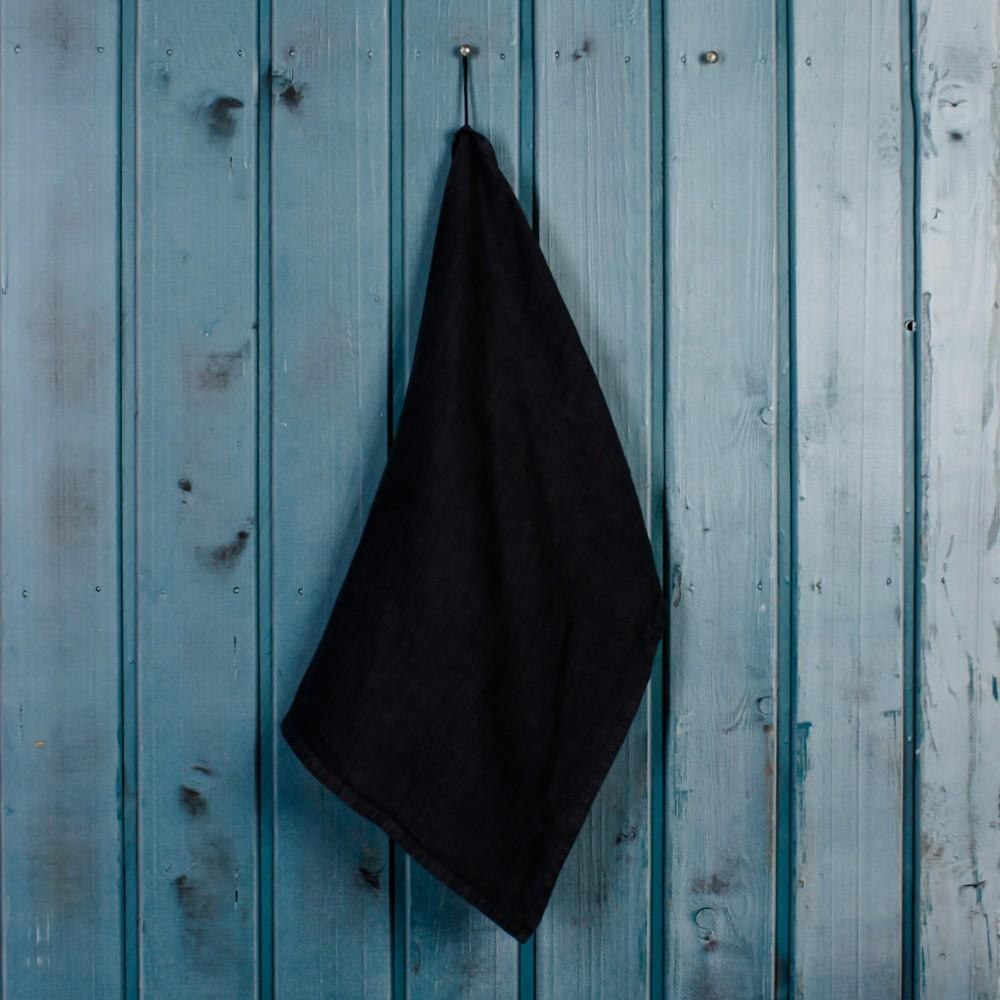 Льняное полотенце темно-серого цвета