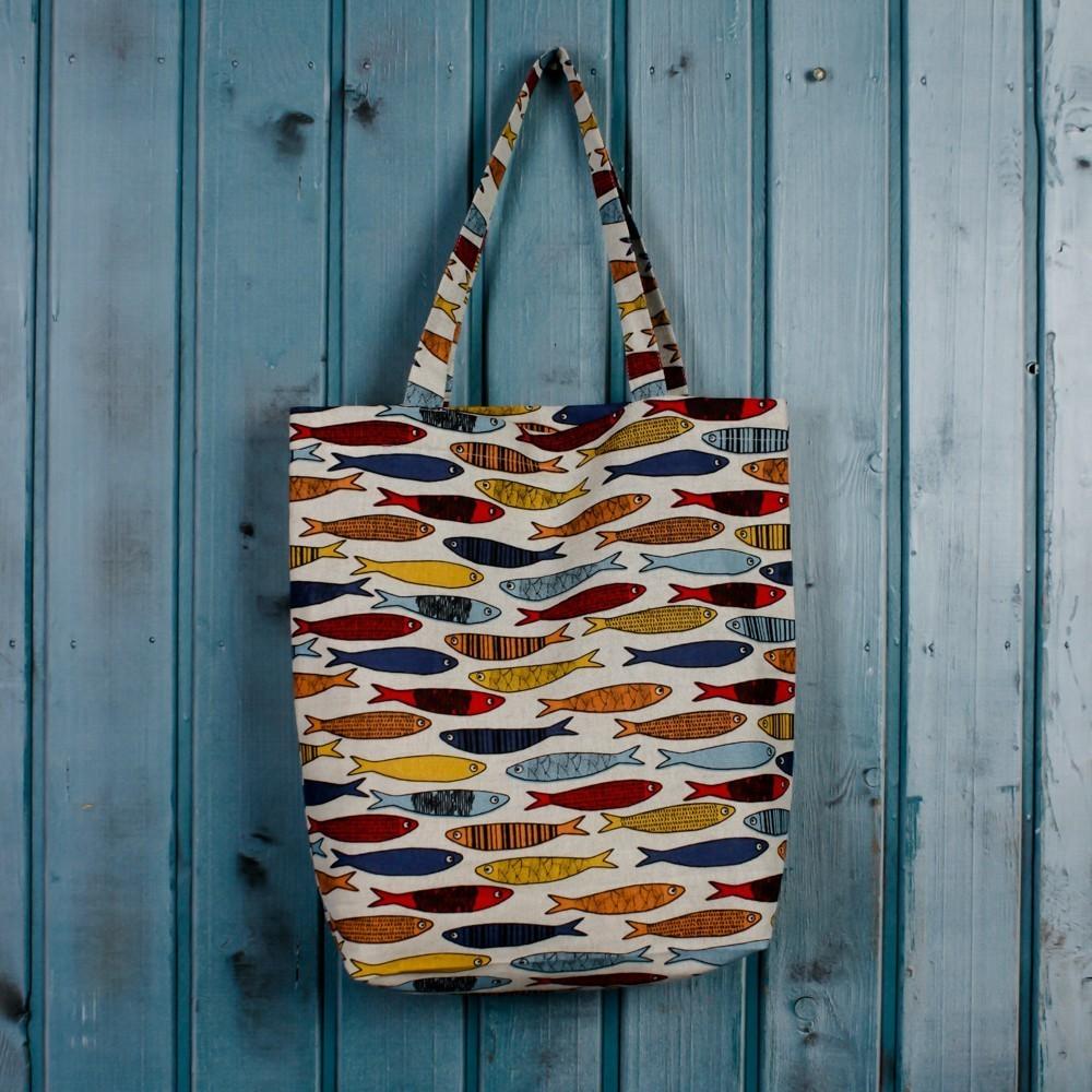 Fishes print linen shopping bag