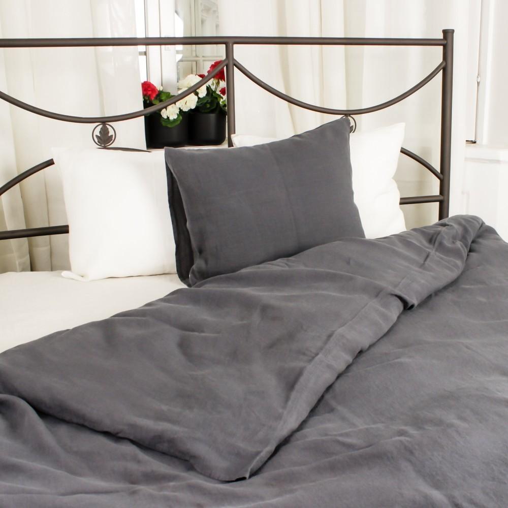 Soft linen dark gray duvet cover