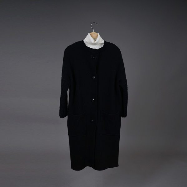 Adelina wool black coat