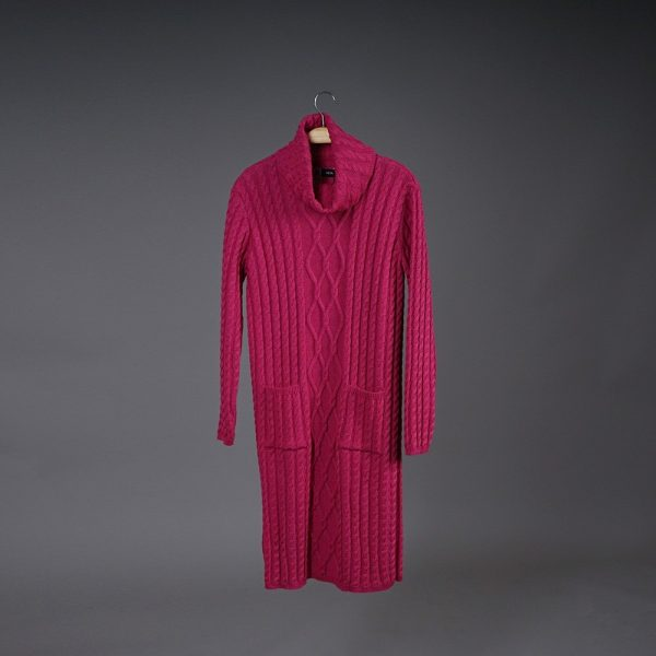 Kendy wool knit dress fuxia
