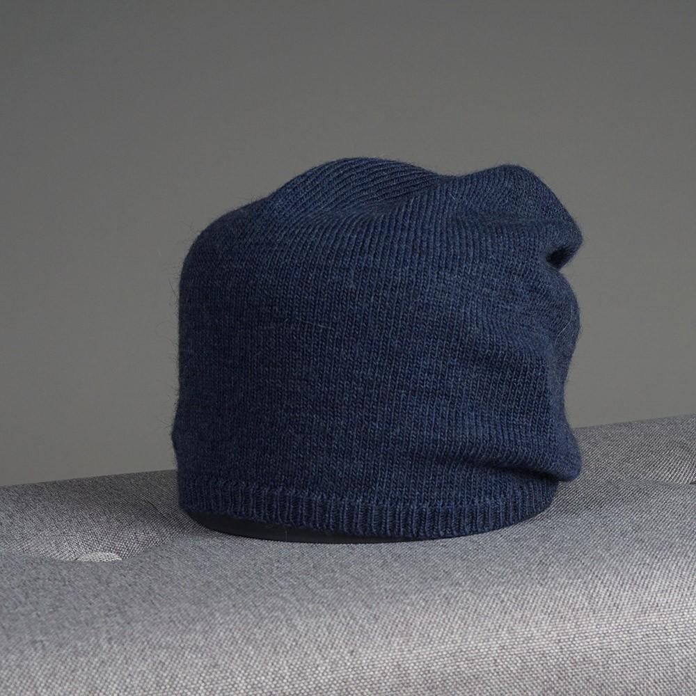 Stella merino wool knit beanie blue