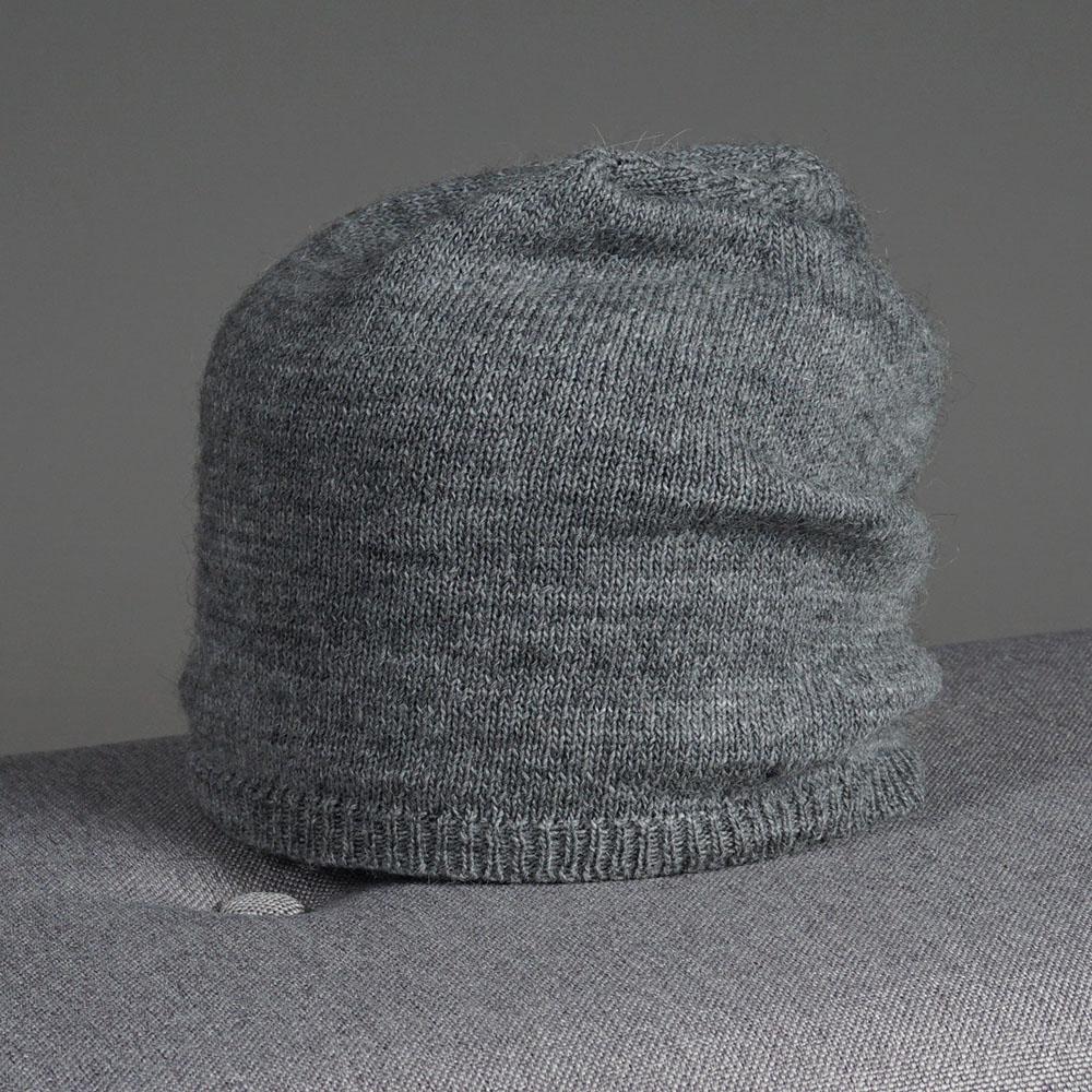 Stella merino wool knit beanie dark gray