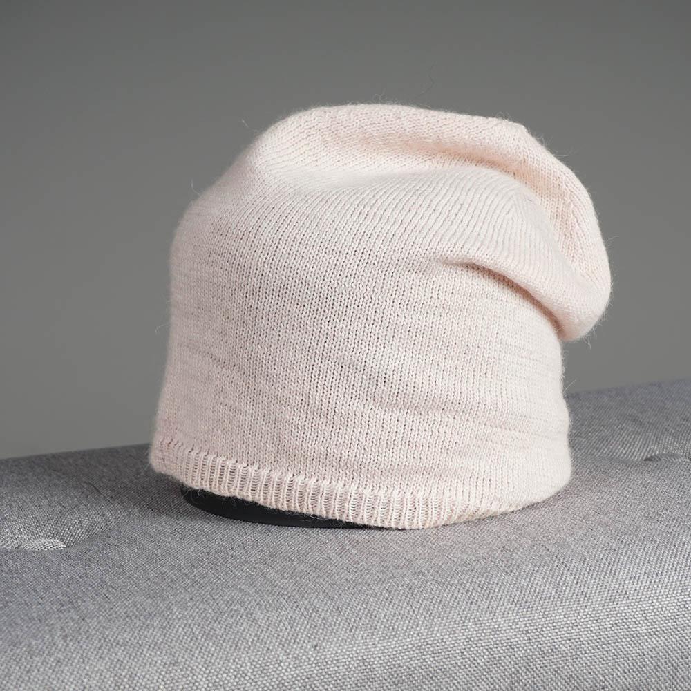 Stella merino wool knit beanie light pink