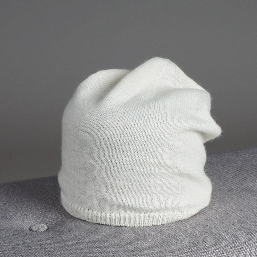 Stella merino wool knit beanie white