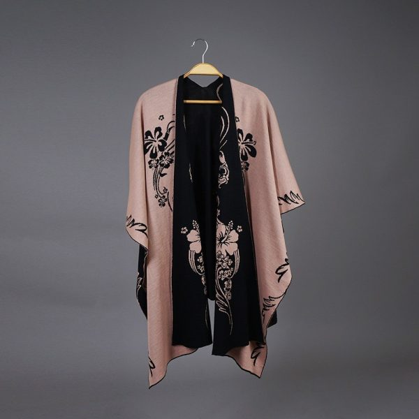 Hawaii Pure Merino Wool Poncho black-pink