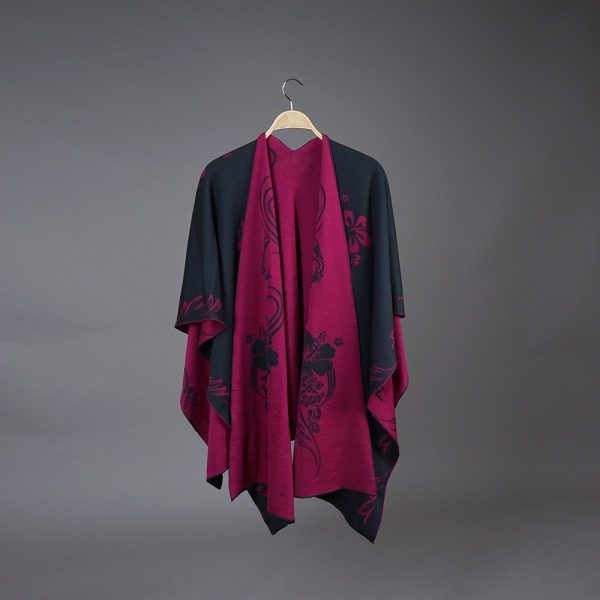 Hawaii Pure Merino Wool Poncho dark gray-cherry