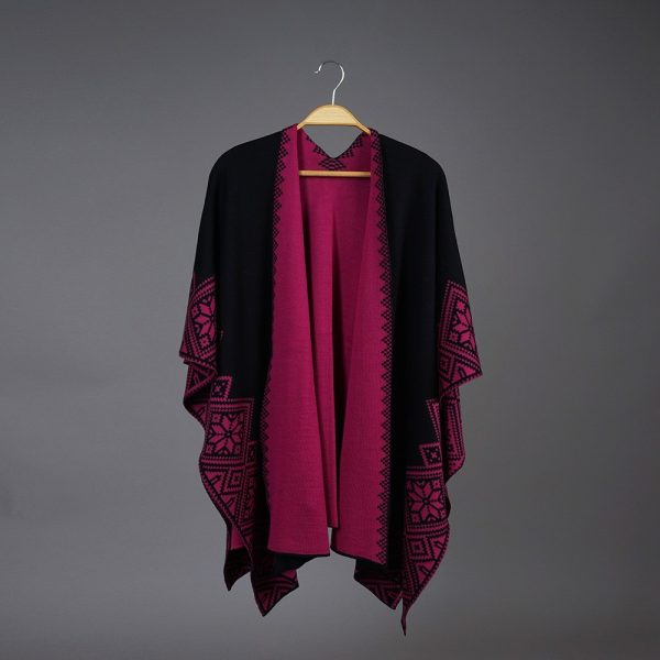 Nordstar Pure Merino Wool Poncho black-cherry