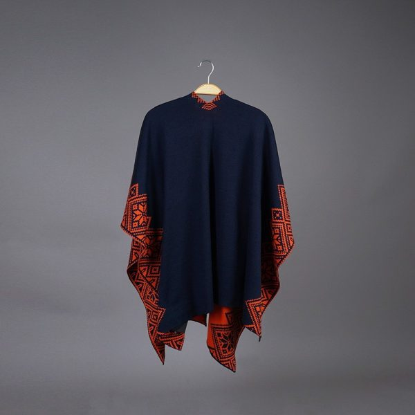 Nordstar Pure Merino Wool Poncho blue-orange