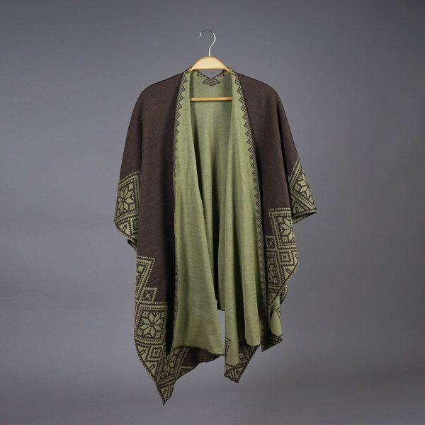 Nordstar Pure Merino Wool Poncho green-brown
