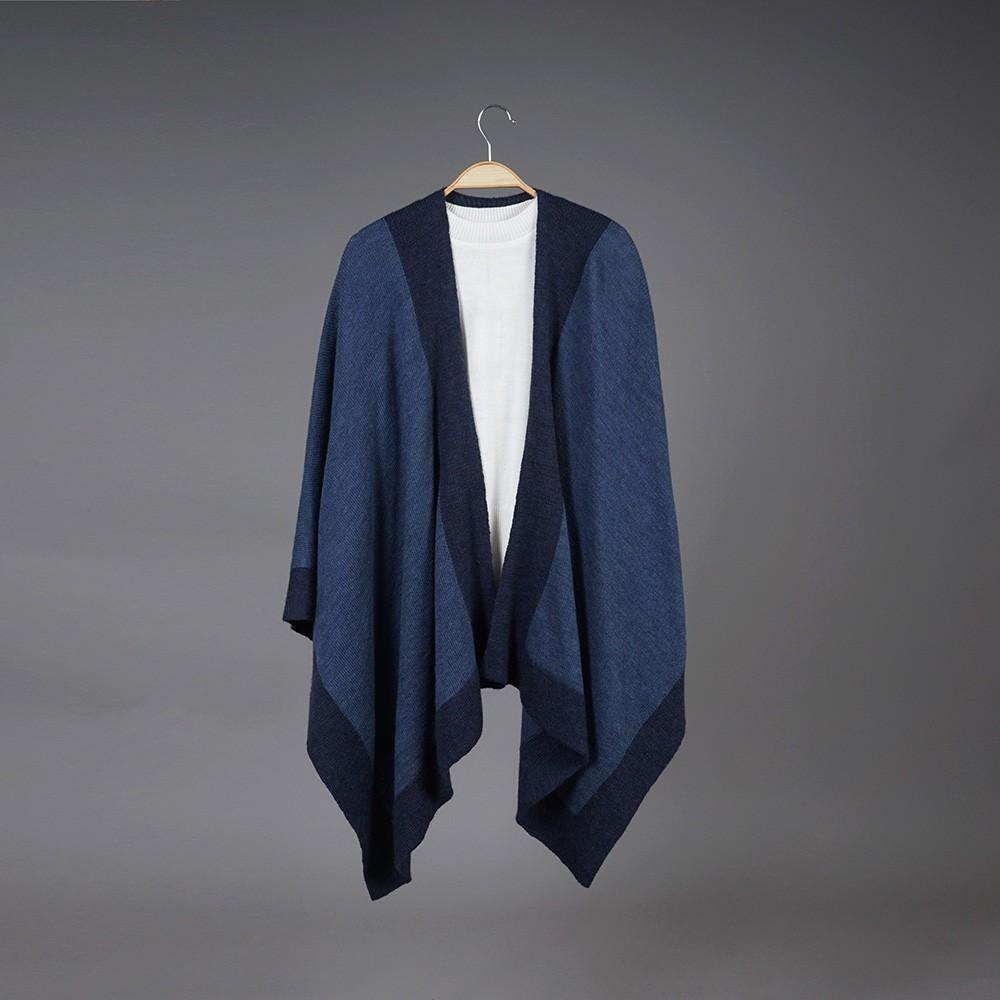 Zarina blue wool poncho