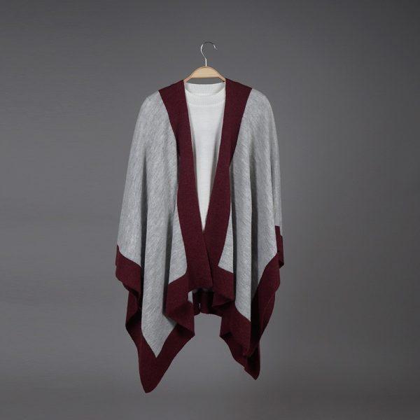 Zarina light gray wool poncho