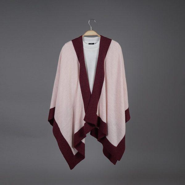 Zarina dark light pink wool poncho