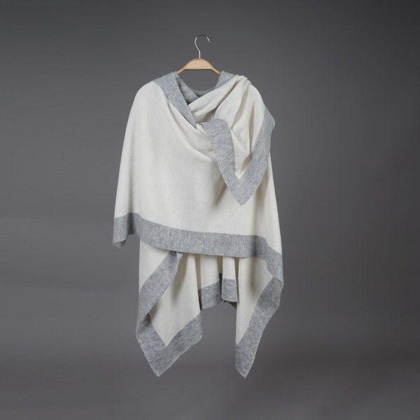 Zarina white wool poncho