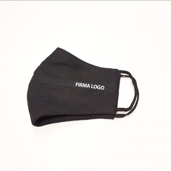 Black linen reusable mask with your company logo