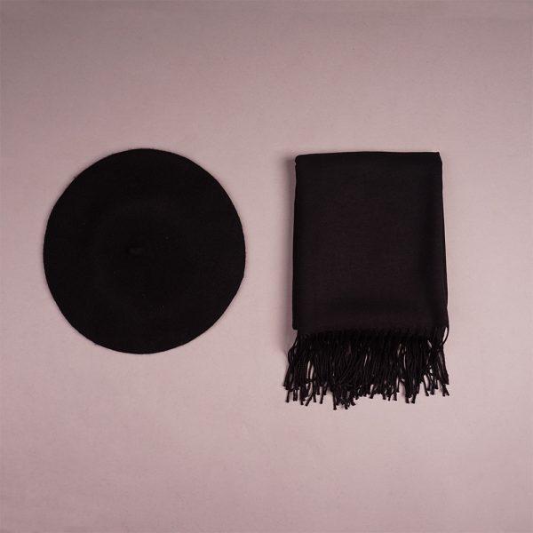 Black pashmina shawl and hat set