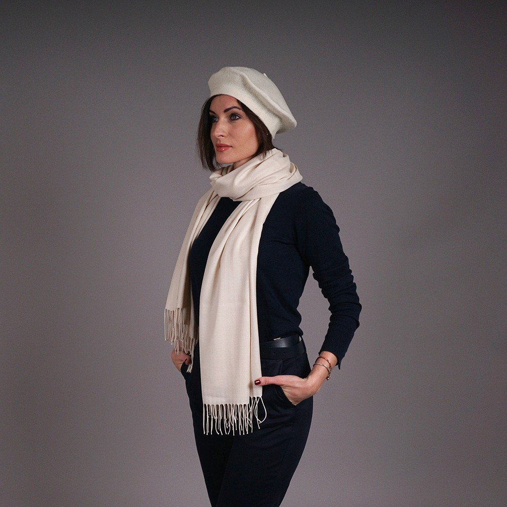 Cream pashmina shawl and hat set