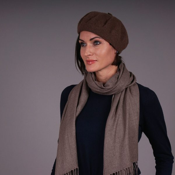 Brown pashmina shawl and hat set