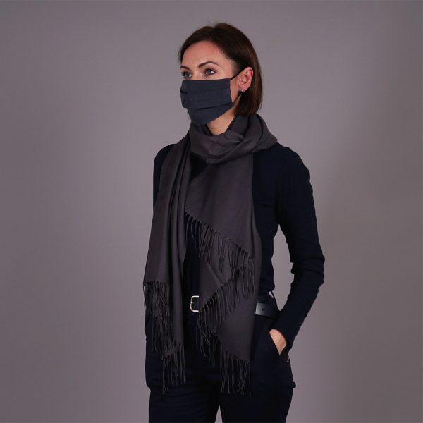 Dark gray pashmina shawl and mask set