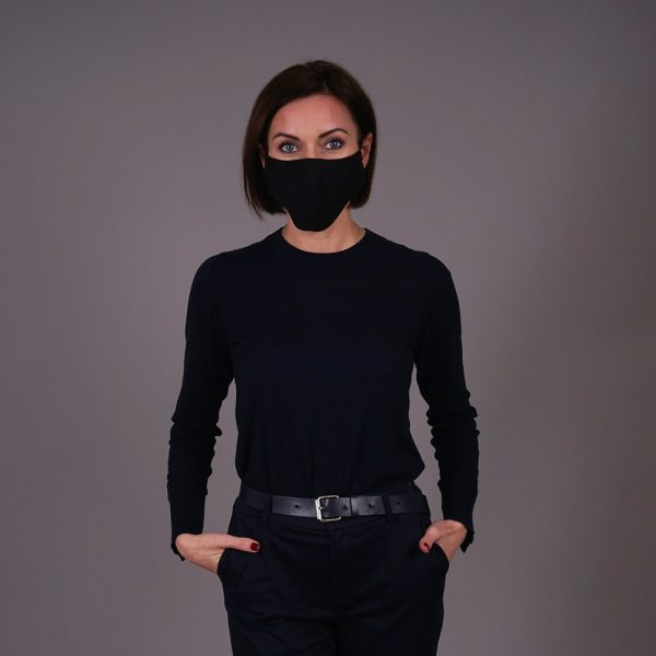 Pure natural linen face mask reusable black