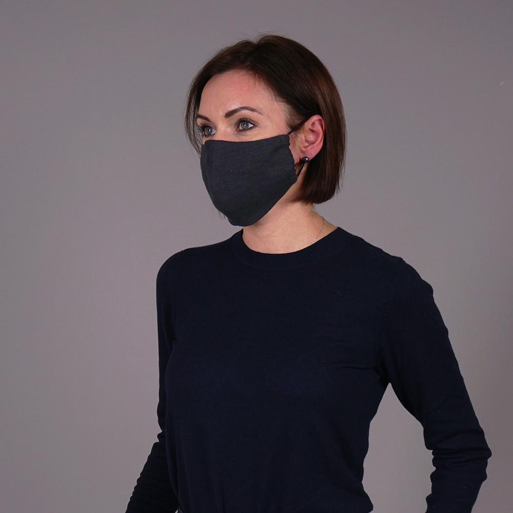 Pure natural linen face mask reusable dark gray