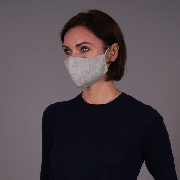 Pure natural linen face mask reusable natural grey