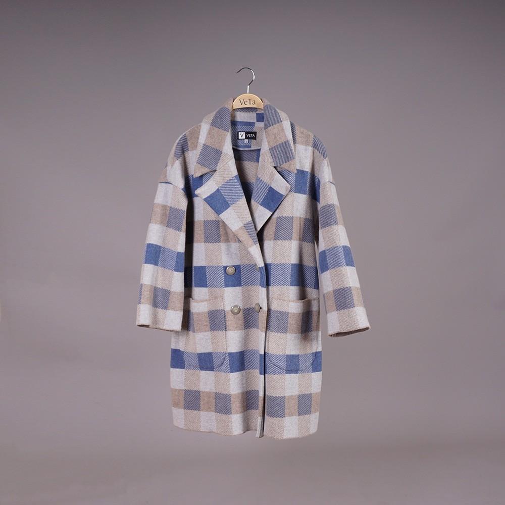 Elina wool blend checked coat