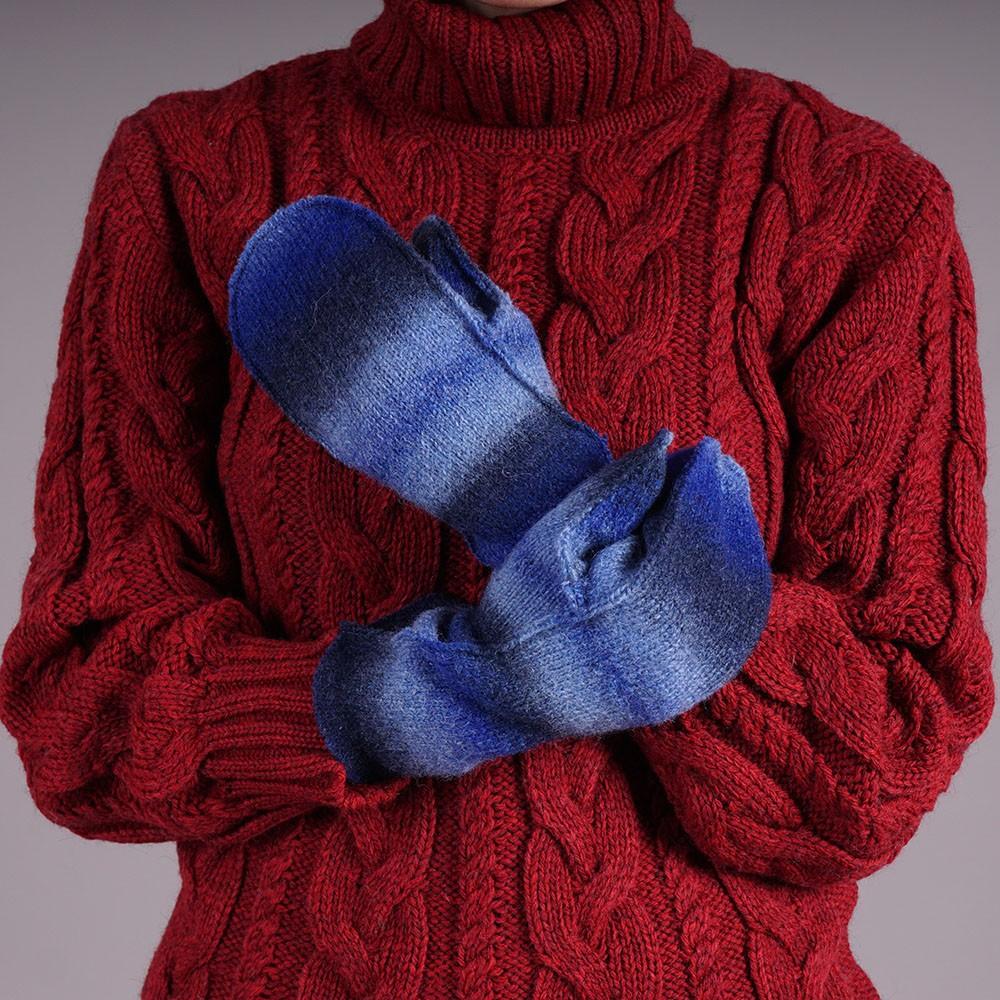 Adelina unisex wool blend mittens blue