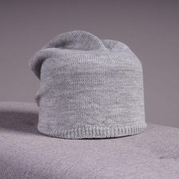 Stella merino wool knit beanie gray