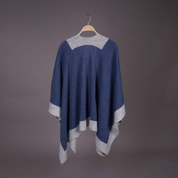 Zarina wool poncho blue gray